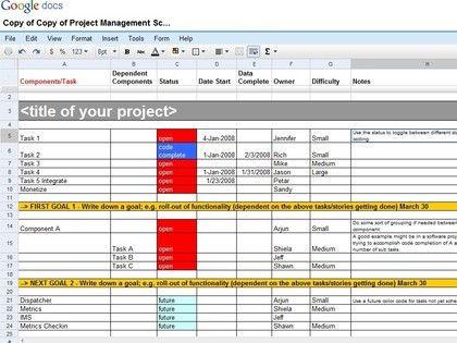 Google Docs Project Plan Template Project Management Schedule