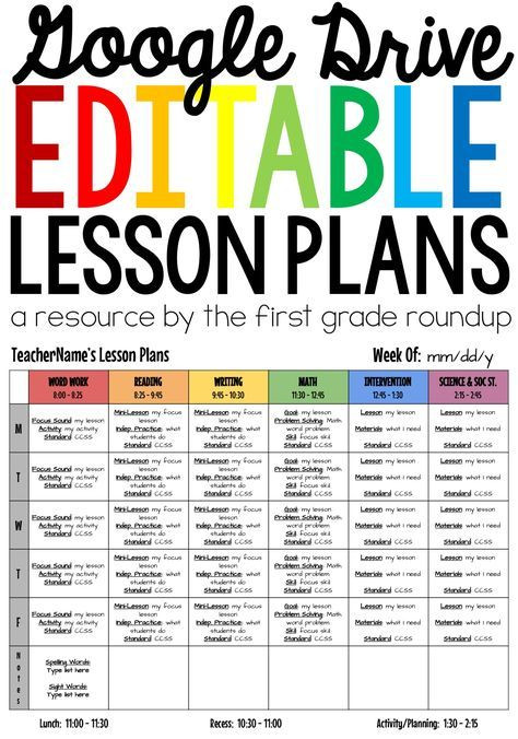 Google Lesson Plan Template Lesson Plan Templates Editable Patible with Google Drive
