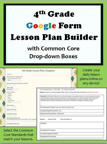 Google Lesson Plan Template New 4th Grade Google form Lesson Plan Builder Includes Drop