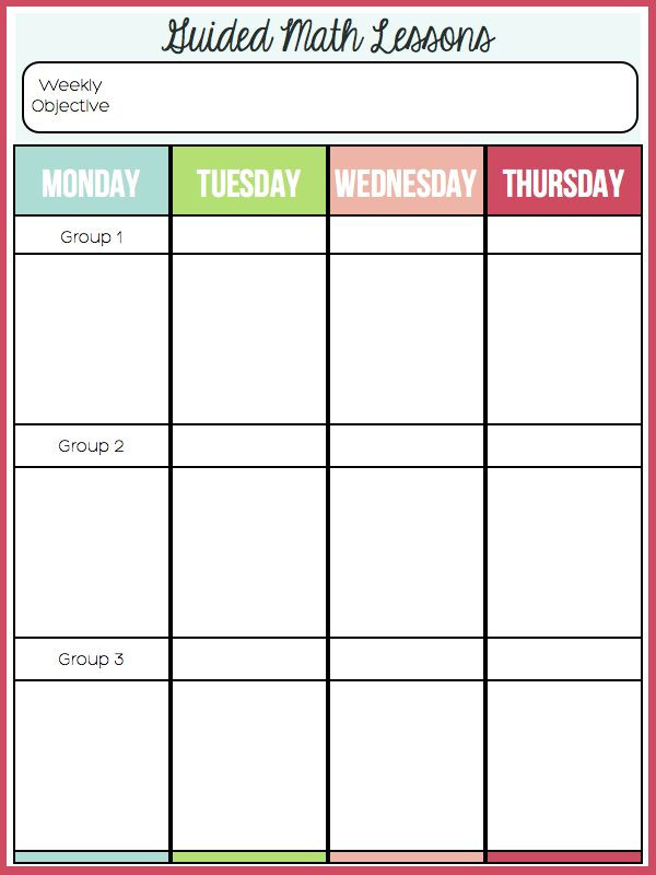 Guided Math Lesson Plan Template Guided Math Schedule and Ideas
