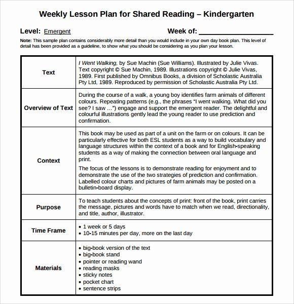 Guided Reading Lesson Plans Template Lesson Plans Template for Kindergarten Fresh Sample Guided