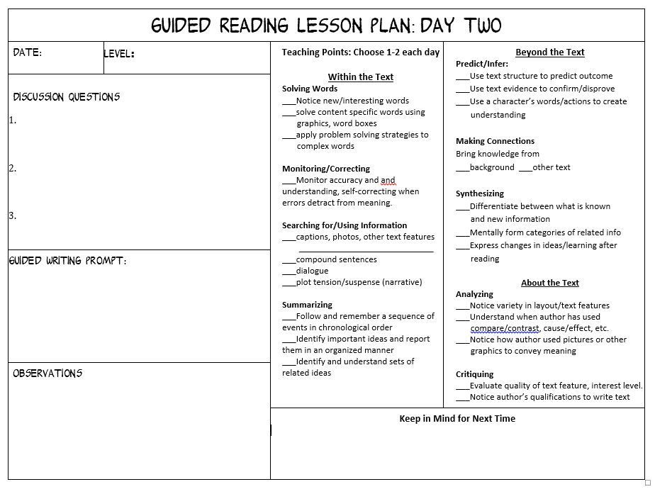 Guided Reading Planning Template Guided Reading Lesson Plan