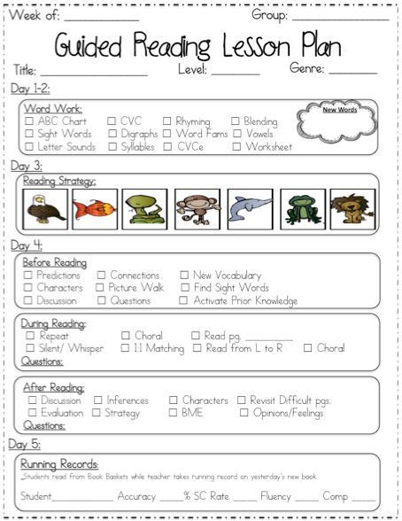 Guided Reading Planning Template Guided Reading Lesson Plan Templates if I Ever to Move