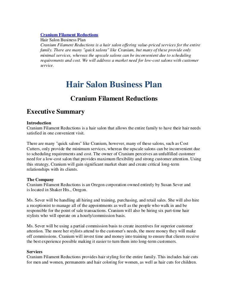 Hair Salon Business Plan Template Salon Business Plan Template Free Luxury Business Plan Hairl
