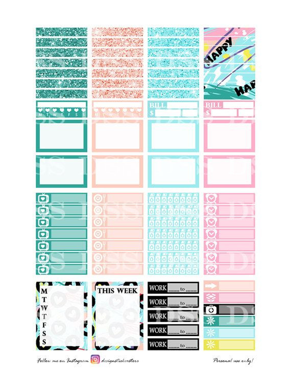 Happy Planner Sticker Template Abstract Valentines Planner Sticker Happy Planner