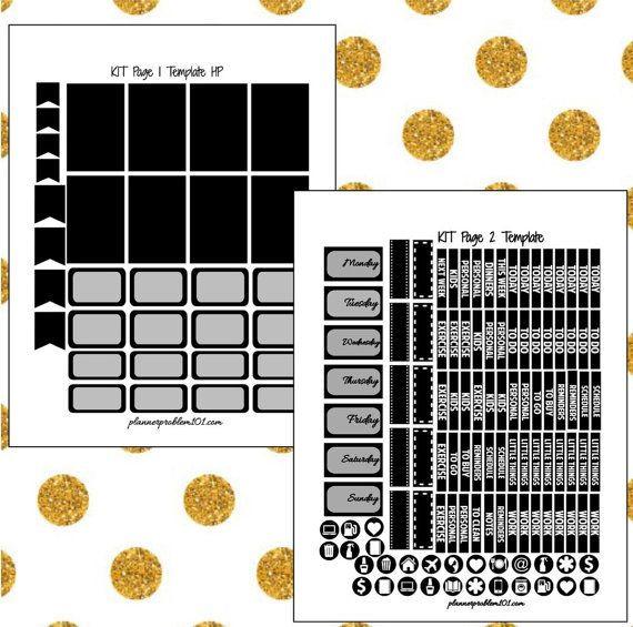 Happy Planner Sticker Template Diy Planner Sticker Template Full Planner Sticker Editable