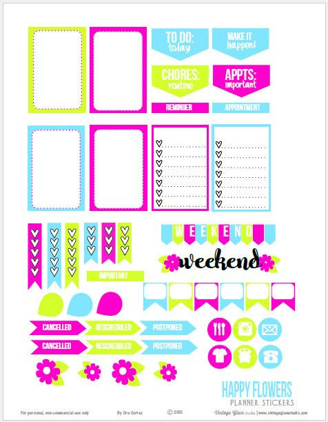 Happy Planner Sticker Template Happy Flowers Planner Stickers Free Printable Download
