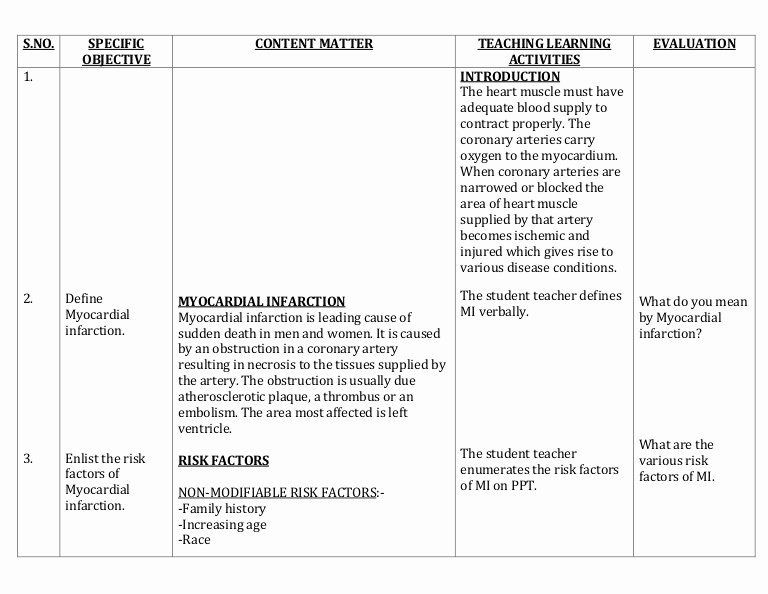 Health Education Lesson Plan Template Patient Teaching Plan Examples Best Lesson Plan