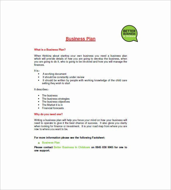 Home Daycare Business Plan Template Daycare Business Plan Template Free Download Elegant Daycare