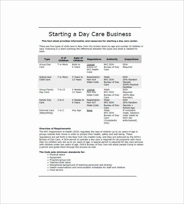 Home Daycare Business Plan Template Daycare Business Plan Template Free Download Fresh Daycare