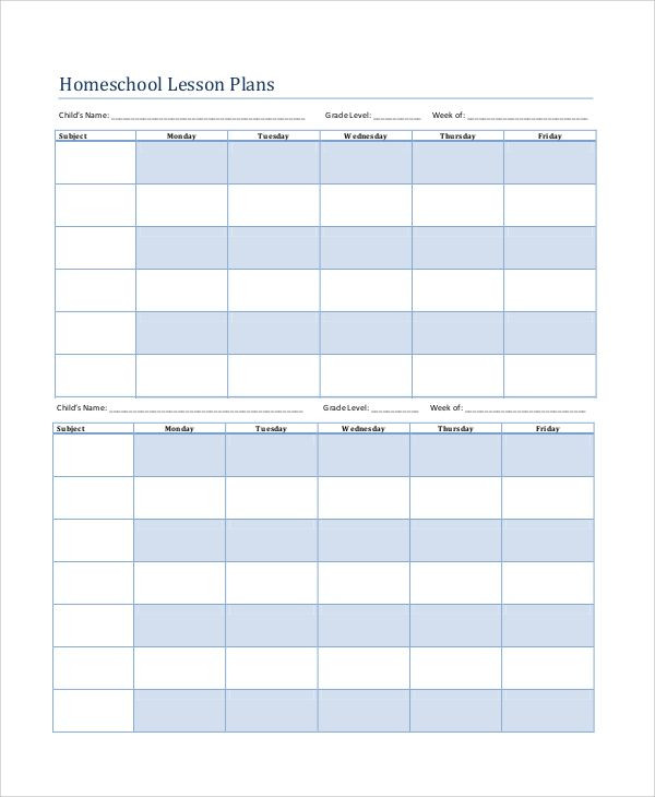 Homeschool Lesson Plan Template Excel Printable Lesson Plan 7 Free Word Pdf Documents Download