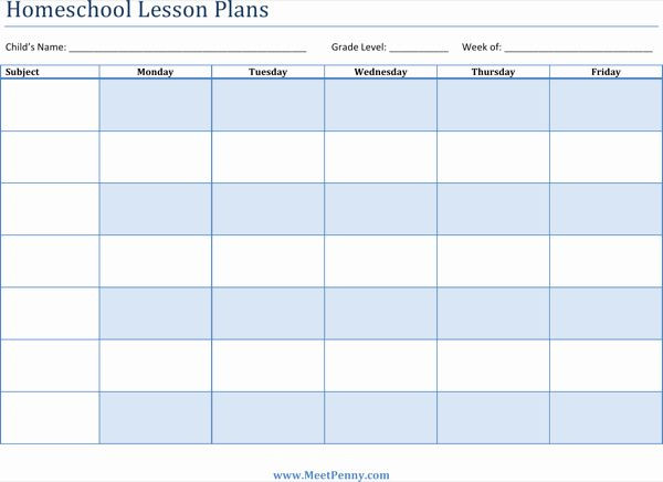 Homeschool Lesson Plan Template Homeschool Lesson Plan Template Lovely Download Printable
