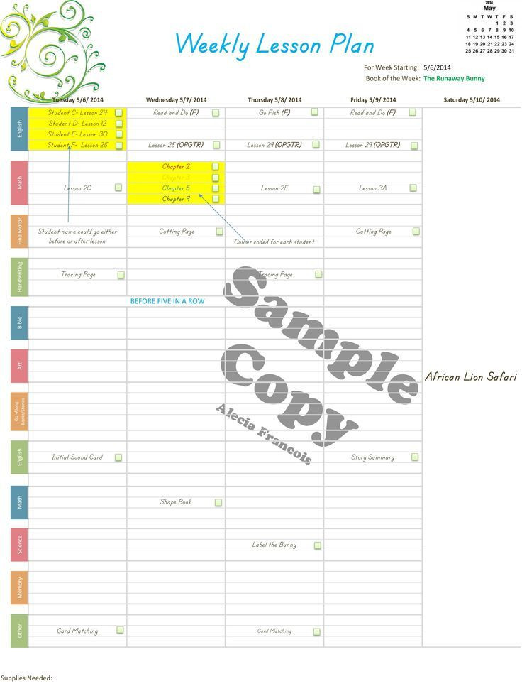 Homeschool Lesson Plan Template Store Old