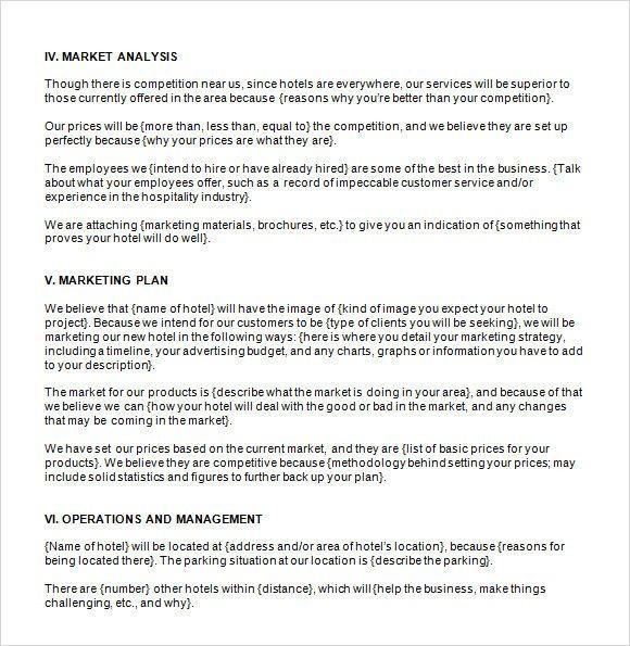 Hotel Marketing Plan Template Hotel Business Plan Template Best Hotel Business Plan