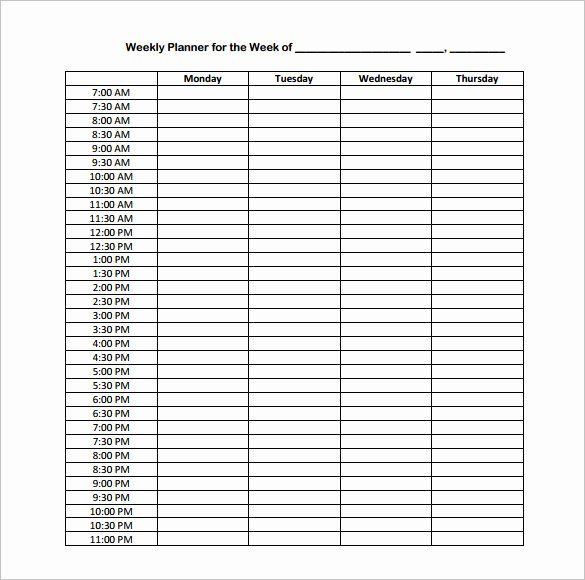 Hourly Planner Template Weekly Hourly Planner Template Inspirational Hourly Schedule