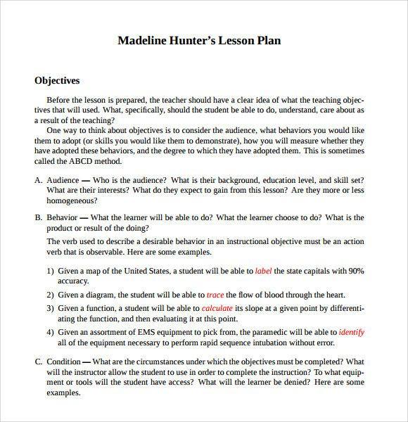 Hunter Lesson Plan Template Madeline Hunter Lesson Plan Example Unique Sample Madeline
