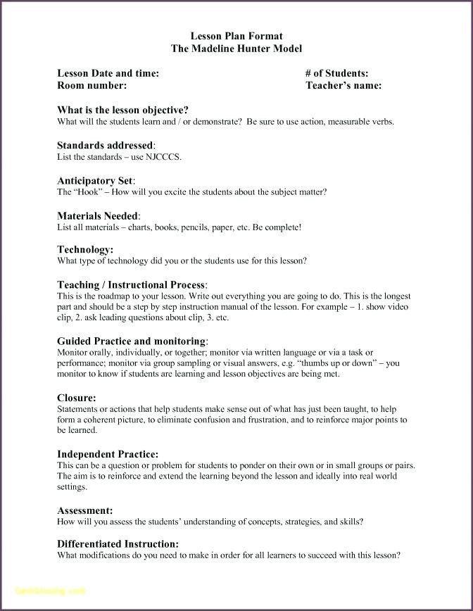 Hunter Lesson Plan Template Madeline Hunter Lesson Plan Template Madeline Hunter Lesson