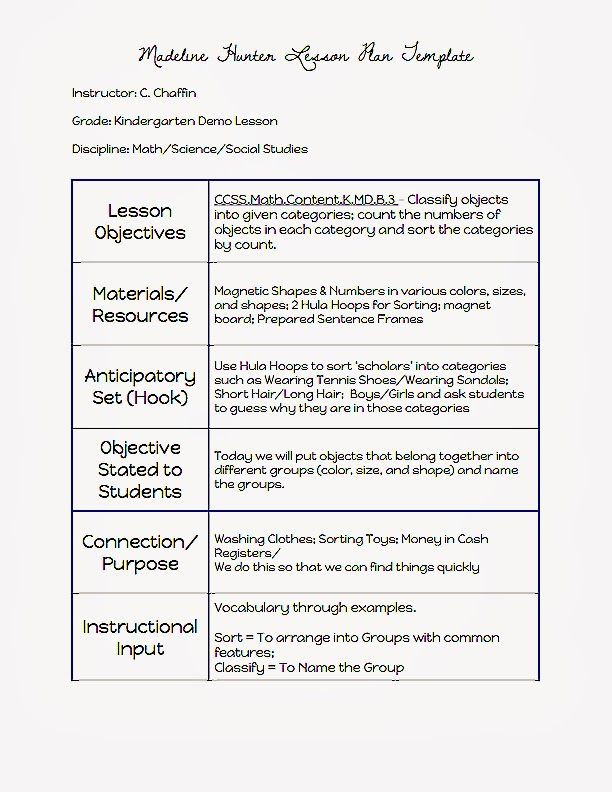 Hunter Lesson Plan Template Madeline Hunter Lesson Plan Template