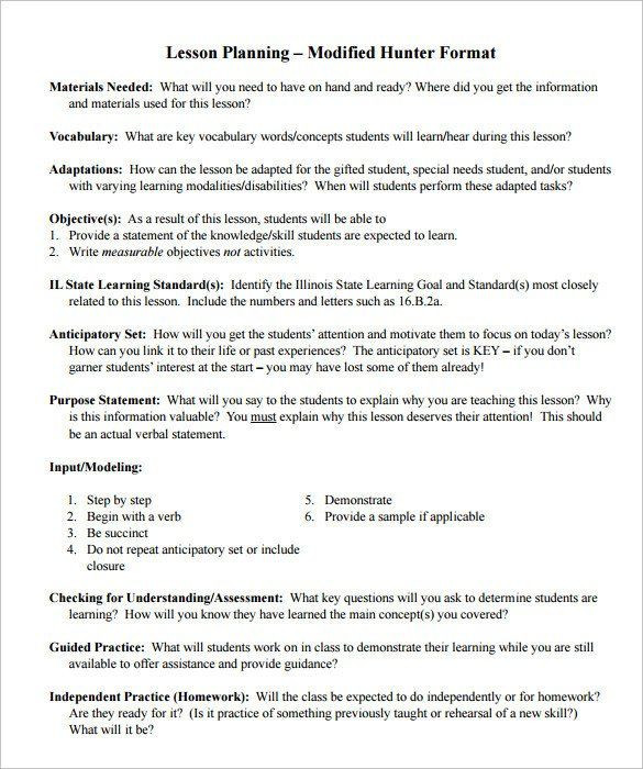 Hunter Lesson Plan Template Madeline Hunter Lesson Plan Template Sample Madeline Hunter