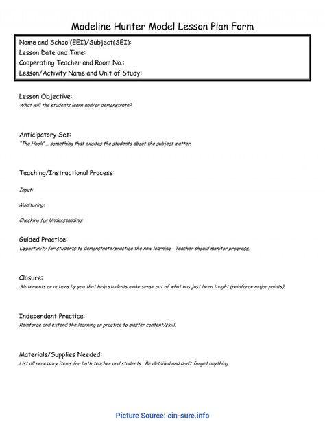 Hunter Model Lesson Plan Template Eei Lesson Plan Template Word Best Simple Madeline Hunter