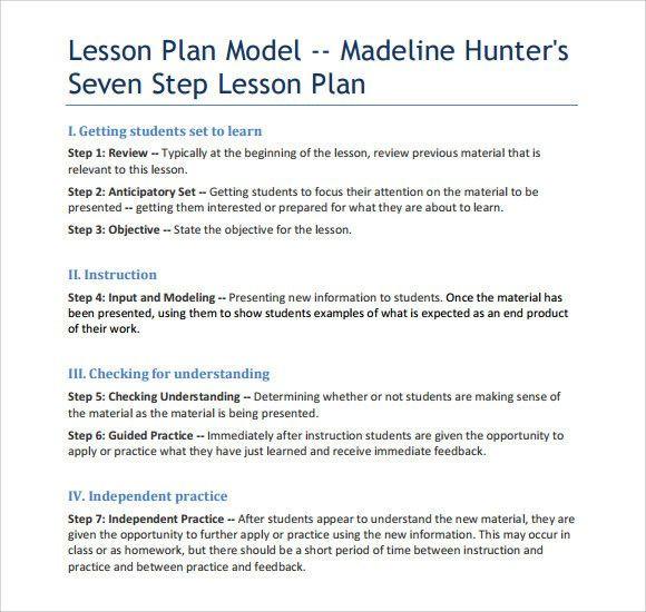 Hunter Model Lesson Plan Template Hunter Model Lesson Plan Template Lovely Sample Madeline