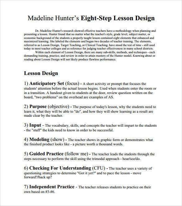 Hunter Model Lesson Plan Template Madeline Hunter Lesson Plan Template Inspirational Sample