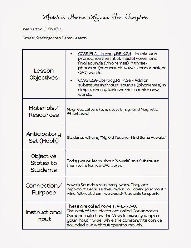 Hunter Model Lesson Plan Template Madeline Hunter Lesson Plan Template