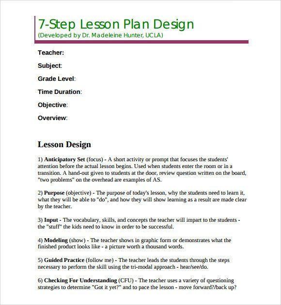 Hunter Model Lesson Plan Template Madeline Hunter Lesson Plan Template Sample Madeline Hunter