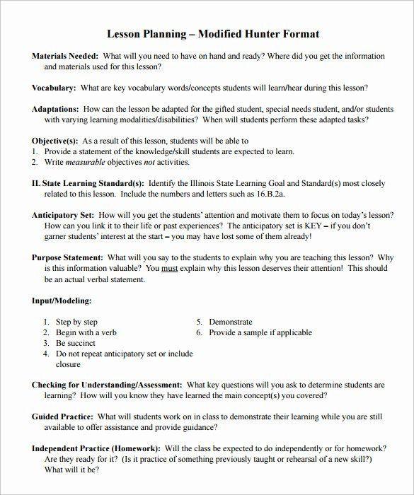 Hunter Model Lesson Plan Template Madeline Hunter Lesson Plans Fresh Sample Madeline Hunter