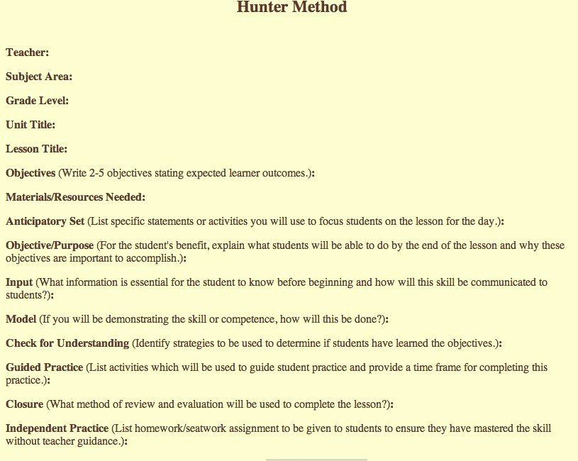 Hunter Model Lesson Plan Template Pin On Lesson Plan Template Printables