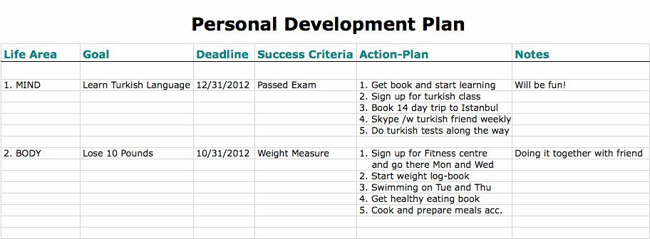 Individual Development Plan Template Excel Individual Developent Plan Template Lovely 6 Personal