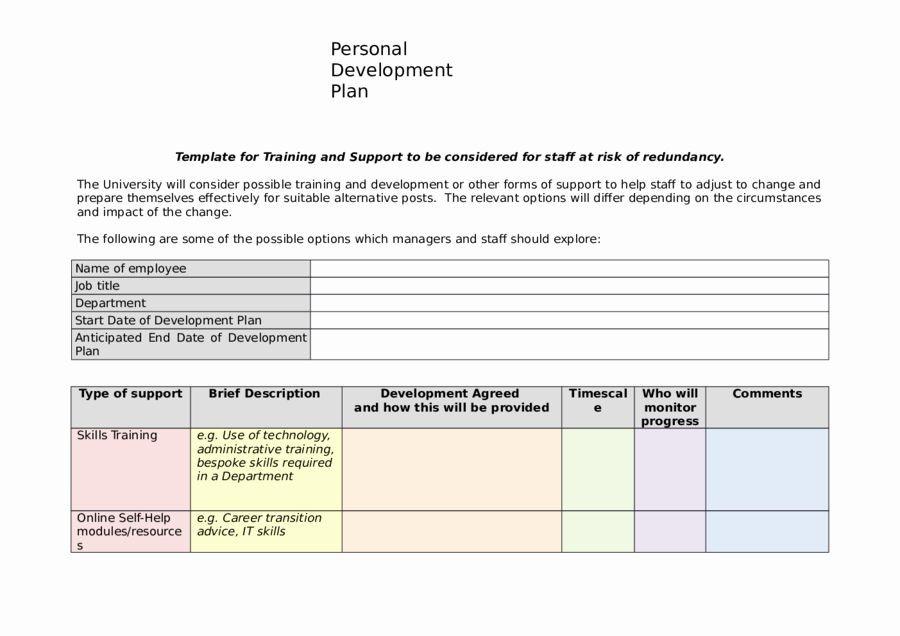Individual Employee Training Plan Template Individual Development Plan Template Fresh 2019 Personal