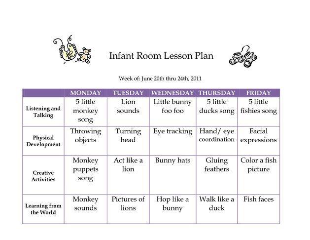 Infant Lesson Plan Template 52 Best Infant Lesson Plan Ideas Images On Pinterest