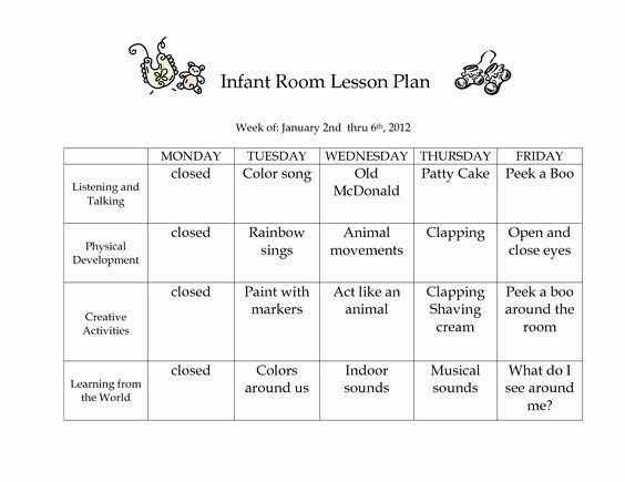 Infant toddler Lesson Plan Template Infant Lesson Plan Template Luxury Infant Blank Lesson Plan