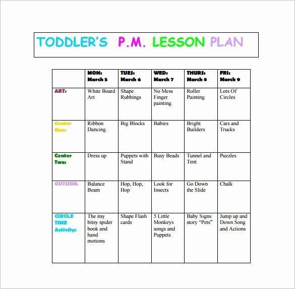 Infant toddler Lesson Plan Template Infant Lesson Plan Template Luxury toddler Lesson Plan