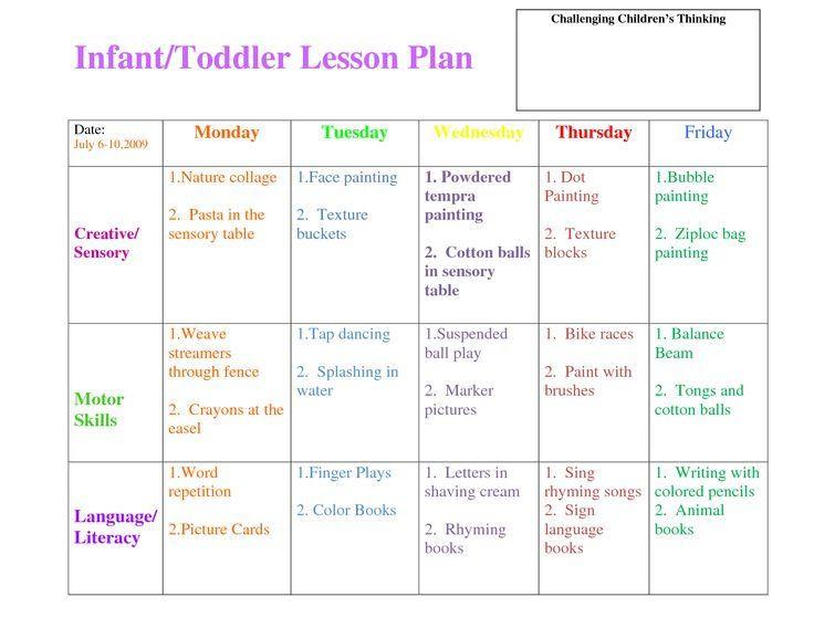Infant toddler Lesson Plan Template Lesson Plans Lesson Plan Templates and toddler Lesson Plans