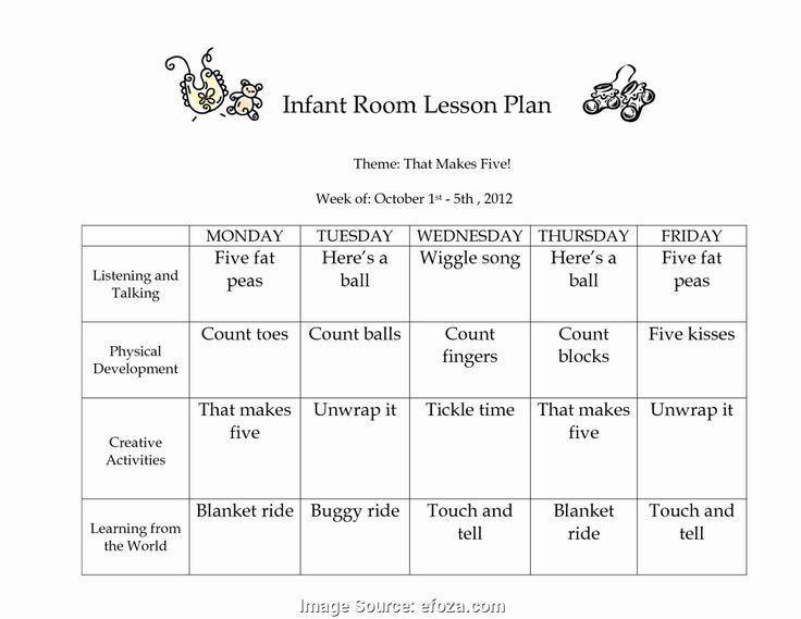 Infant toddler Lesson Plan Template Printable Infant Lesson Plans Child Development