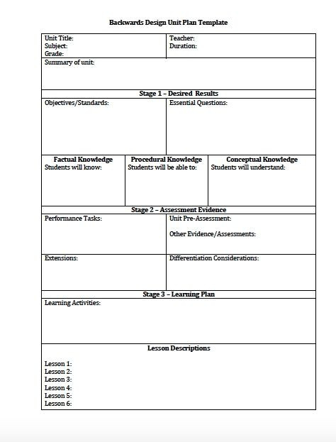 Instructional Framework Lesson Plan Template Backward Design Lesson Plan Template 2016 Best Business