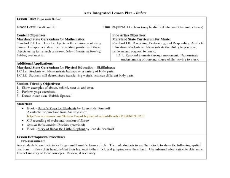 Integrated Lesson Plan Template Arts Integrated Lesson Plan Babar Lesson Plan