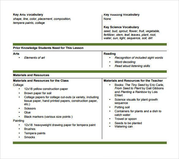 Integrated Lesson Plan Template Integrated Lesson Plan Template Awesome Sample Art Lesson