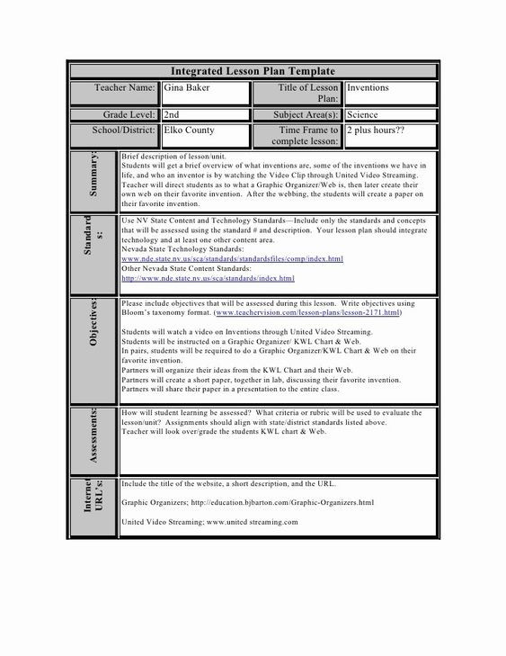 Integrated Lesson Plan Template Integrated Lesson Plan Template Beautiful Constructivist