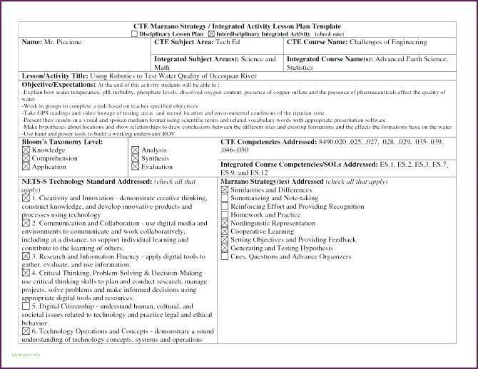 Integrated Lesson Plan Template Integrated Lesson Plan Template Unique Technology