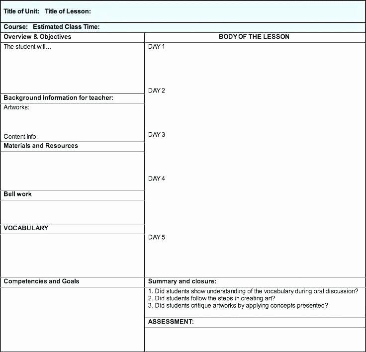 Integrated Lesson Plan Template Teacher Day Plan Template Lovely Free Weekly Lesson Plan