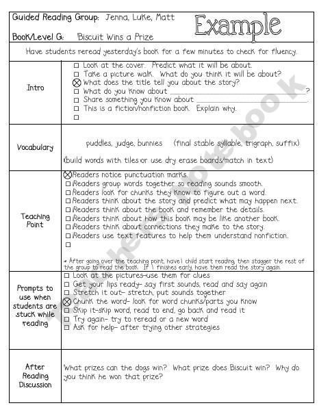 Jan Richardson Lesson Plan Template Small Group Guided Reading Lesson Plan