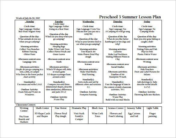 Kindergarten Lesson Plan Template Pdf Doc Pdf Excel Free & Premium Templates