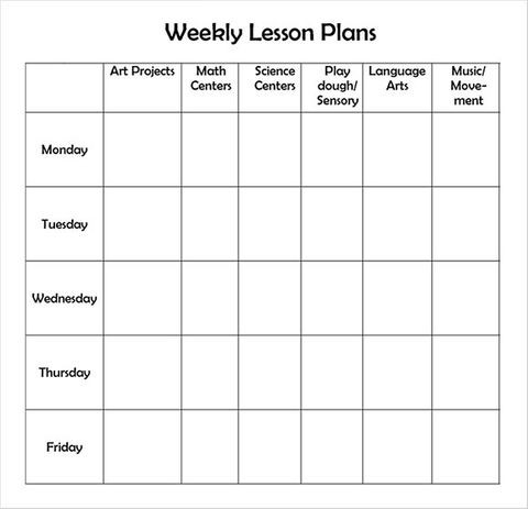 Kindergarten Lesson Plan Template Pdf Sample Weekly Lesson Plan 7 Documents In Word Excel Pdf
