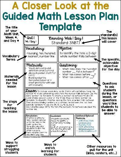 Kindergarten Math Lesson Plan Template Guided Math Lesson Plan Template