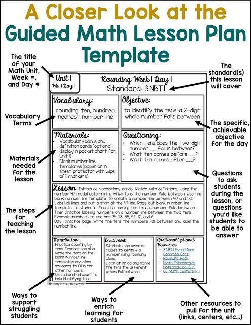 Kindergarten Math Lesson Plan Template Guided Math Lesson Plan Templateguided Math Lesson Plan