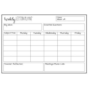 Kindergarten Weekly Lesson Plan Template Editable Lesson Plan Template Freebie