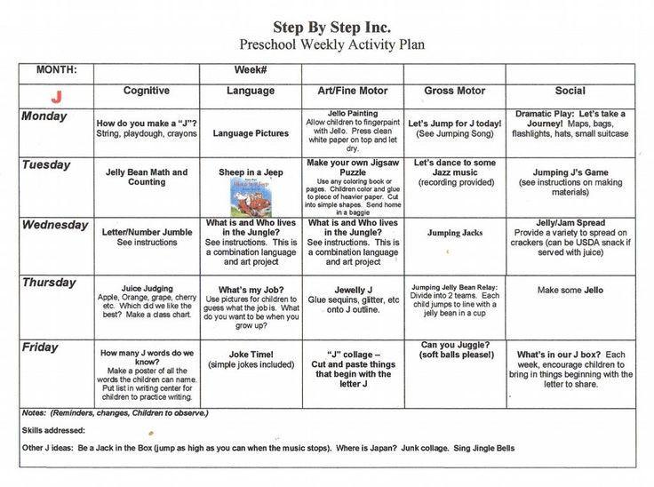 Kindergarten Weekly Lesson Plan Template Emergent Curriculum Preschool Lesson Plan Template